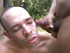 Ugly homo gets his hairy asshole pounded in the garden