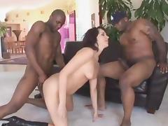 Two huge black dicks bang sweet and horny bitch Dana DeArmond