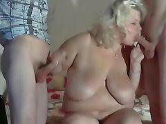Fat blonde BBW makes 2 friends cumming all over big tits