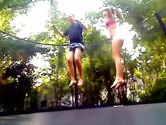immature GF and I fuck on a trampoline