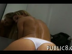 Amateur blonde MILF fucked in the fittingroom of a clothing store