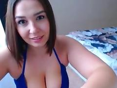 Anjoy - Sexy curvy girl in blue bikini