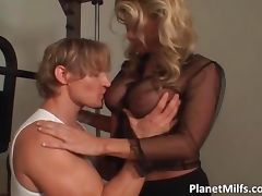 Very hot blonde with amazing tits takes