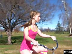 Tiffany Flowers rides her bike around town a lot