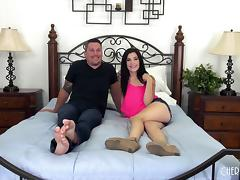 Jenna gets her legs bent open so he can slam that pussy