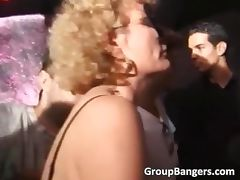 Curly MILF blonde gets mouth and wet