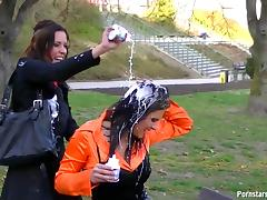 Girls have a picnic in the park that turns into a sexy food fight