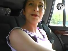 Euro Brunette Masturbating in Backseat