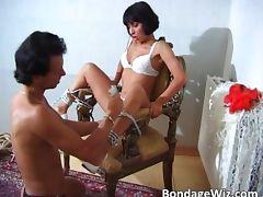 Hot slut enjoys being tied up on some