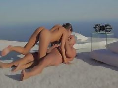 Beautiful lovers sexing by the ocean