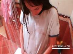 Teen hottie teasing body in shower