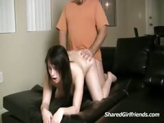 Horny guy fucking a sexy brunette