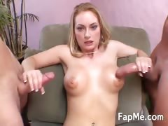 Horny blonde handling two massive cocks
