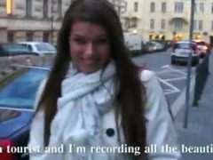 Eurobabe picked up in the streets flashes her big rack and banged