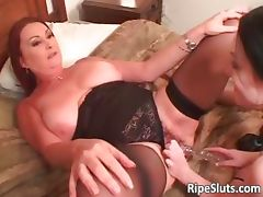 Two horny busty lesbians lick and fuck part2