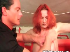 Busty redhair whore gets many pins