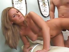 Big boobed blonde milf bones young man's cock