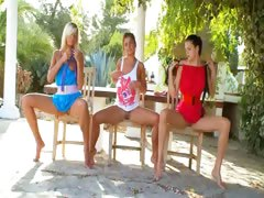 Three girls dildoing together outside