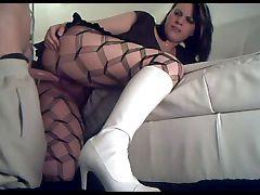 65 slut in white boots fucked