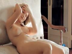 Beautiful breasty babe touching herself