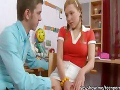 Pigtailed blonde teen girl Sarah hard anal sexperience