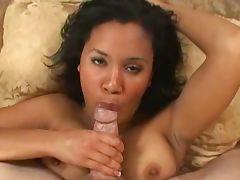 Busty black girl sucks and swallows 226NT