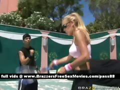 Mature blonde slut plays tennis
