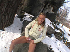 Amateur euro babe sucks and banged in a snowy public area