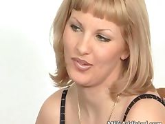 Great blonde MILF sucks hard cock