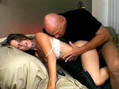 Old Man Fucks this Useless Hairy Vagina to Please it with a Nice Dose of Sperm