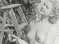 Nudist Girl Feels Good Naked in Garden 1950