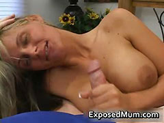 Hot mum with huge juggs sucks stiff rod