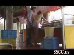 cute street vendors staff fucked by boss outside