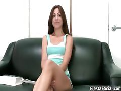 Sexy brunette babe gets horny talking part6