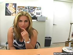 Lush blonde Cuban babe gets fucked at the interview