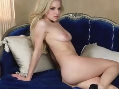 Stunning Blonde Liz Ashley Takes Off Her Underwear For Some Solo