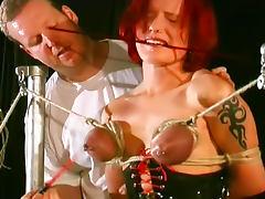 Tits turn blue in bondage