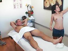 Old man fucks Japanese masseuse
