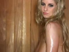 Hot Sauna Action With Jenny McClain And Her Big Natural Tits