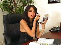 Sexy brunette Shy Love gets fucked on a desk in an office