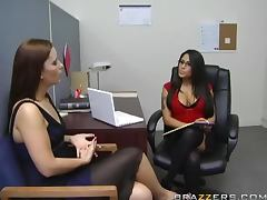 Sexy brunette Jenaveve Jolie fucks Cheyne Collins in her office