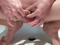 Ring cock and condom putt condom on cock and balls cumshot