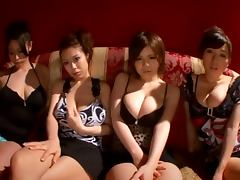 Four amazing Japanese girls shake their oiled up boobs