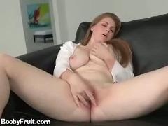 Redhead Sucks Her Big Tits