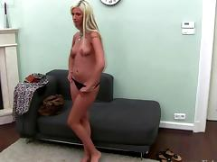 Casting with blonde being pussyfucked