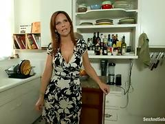 Redhead Syren De Mer gets tied up and fucked in a kitchen