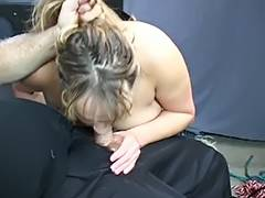 Fat S M wench acquires teats pinched then fastened on table for BJ