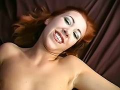 Skinny redhead opens her wet crack to display her large labia then copulates
