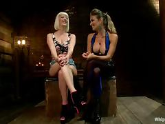 BDSM Lesbian Domination Fun with Cherry Torn Tied and Strapon Fucked