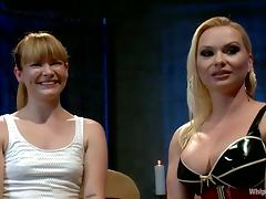 Lesbian Domination with Katja Kassin Fucking Claire Robbins with Strapon